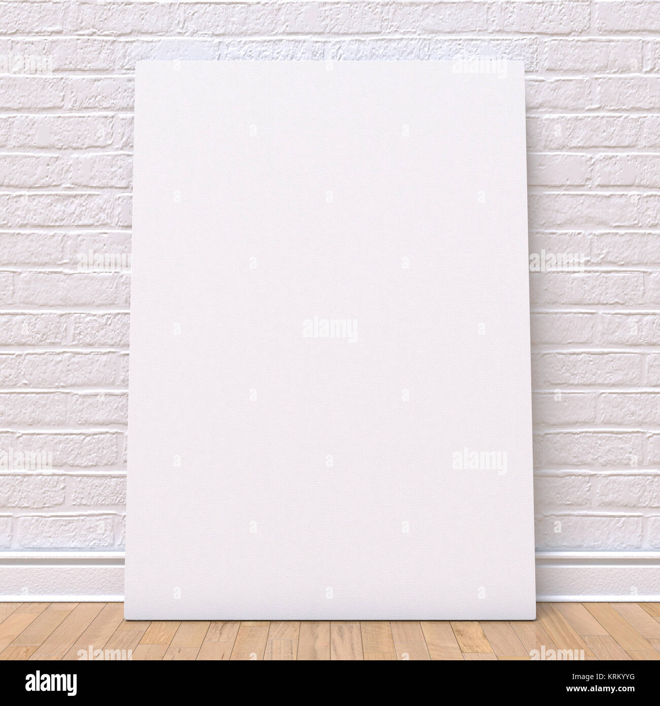 Mock up canvas frame, floor and wall. 3D - Stock Image