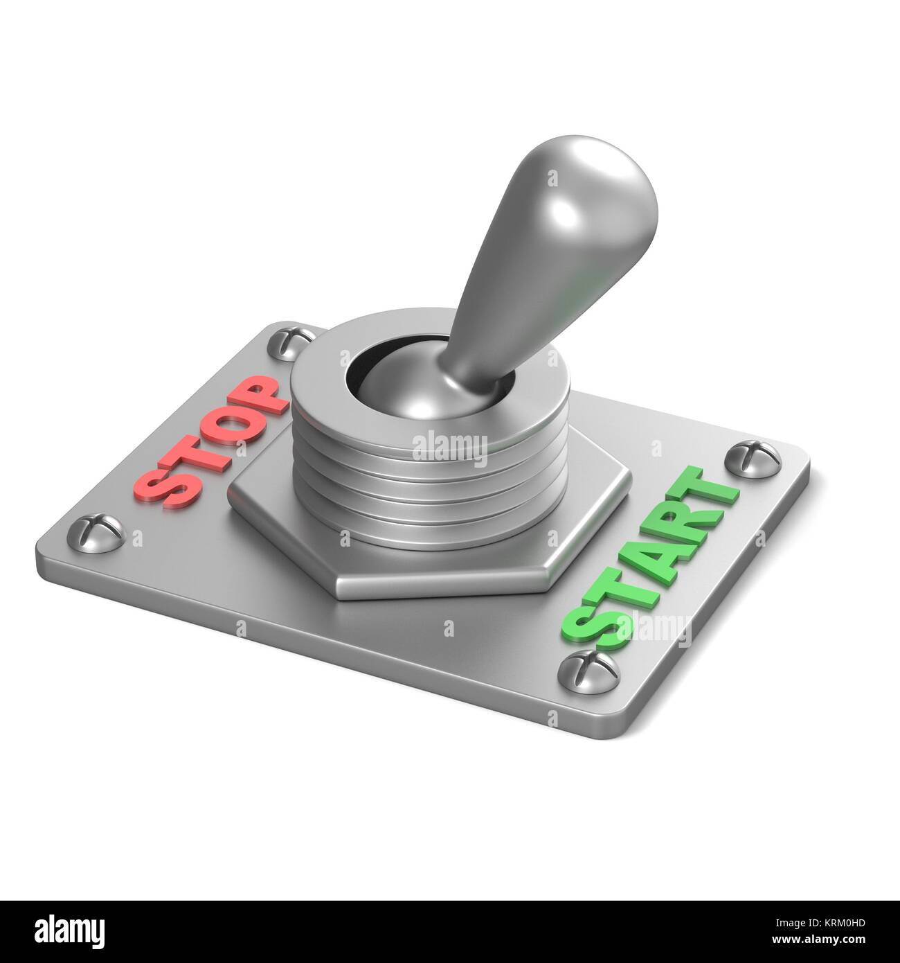 Metal toggle switch, flipped in the START position. 3D - Stock Image