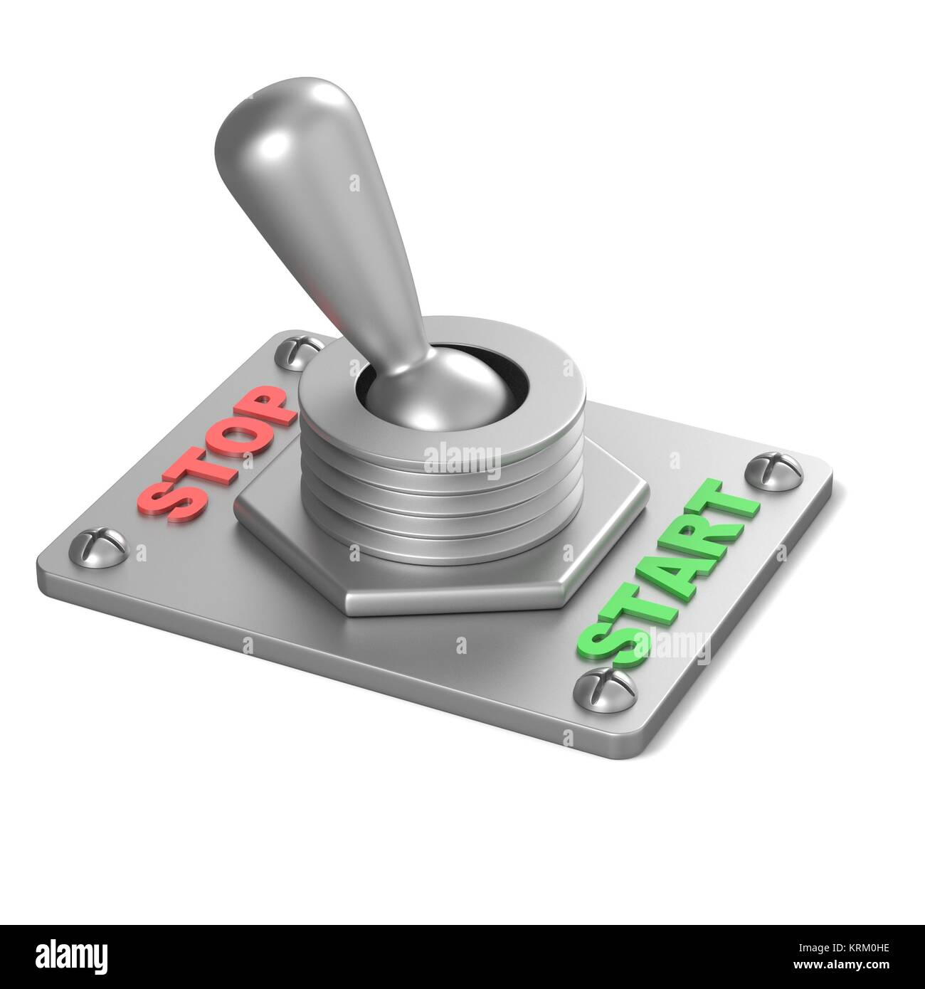 Metal toggle switch, flipped in the STOP position. 3D - Stock Image