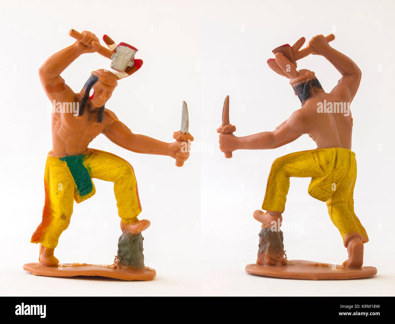 Indian cowboy mini figure model toy / Isolated white - Stock Image