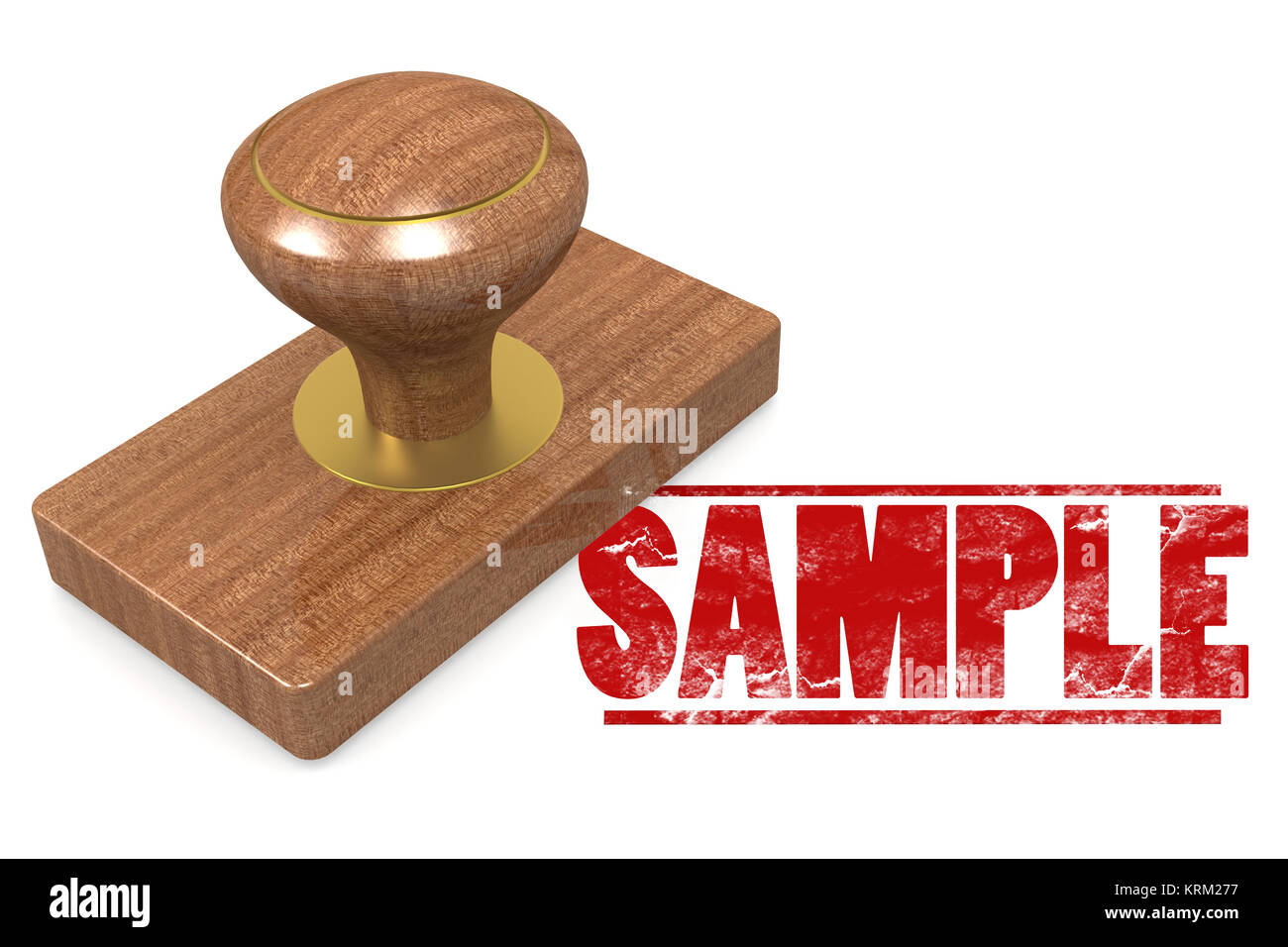 Sample wooded seal stamp - Stock Image
