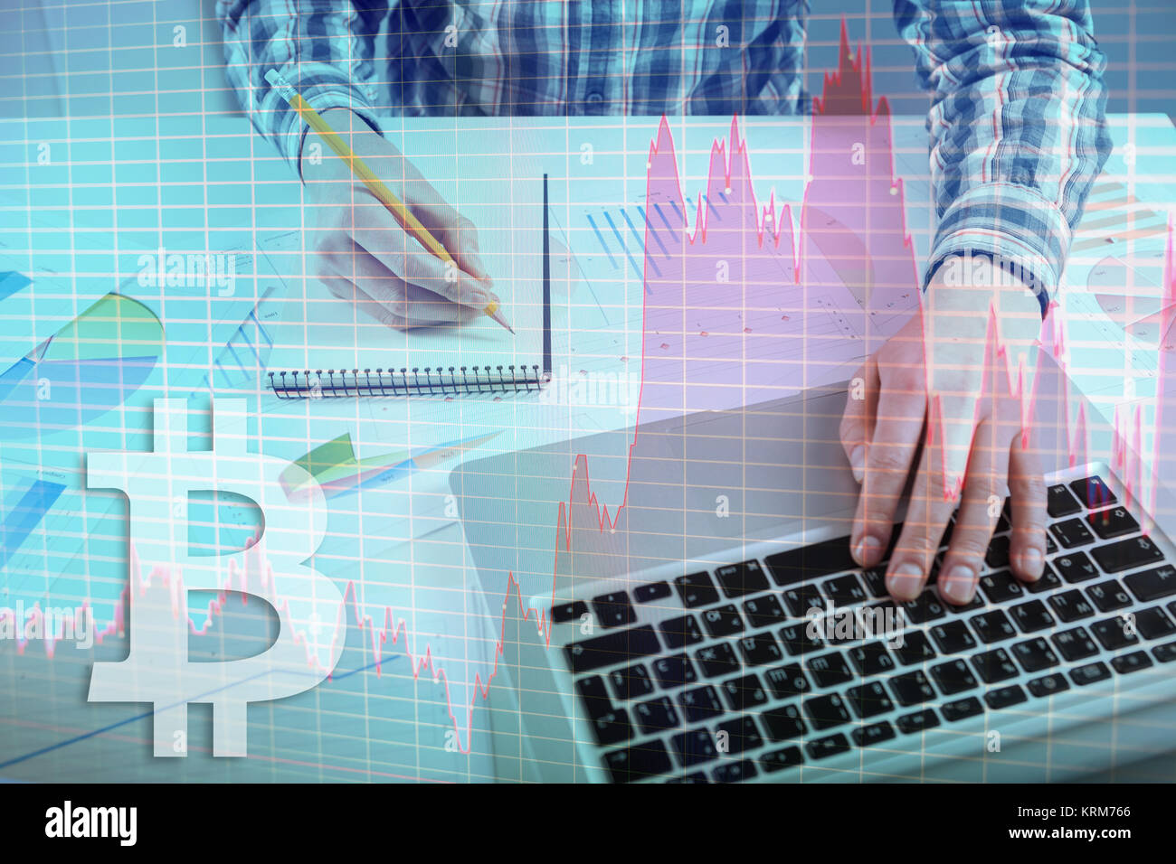 Stock Market Chart, graph. Businessman working with graph documents. Bitcoin currency exchange on virtual screen - Stock Image