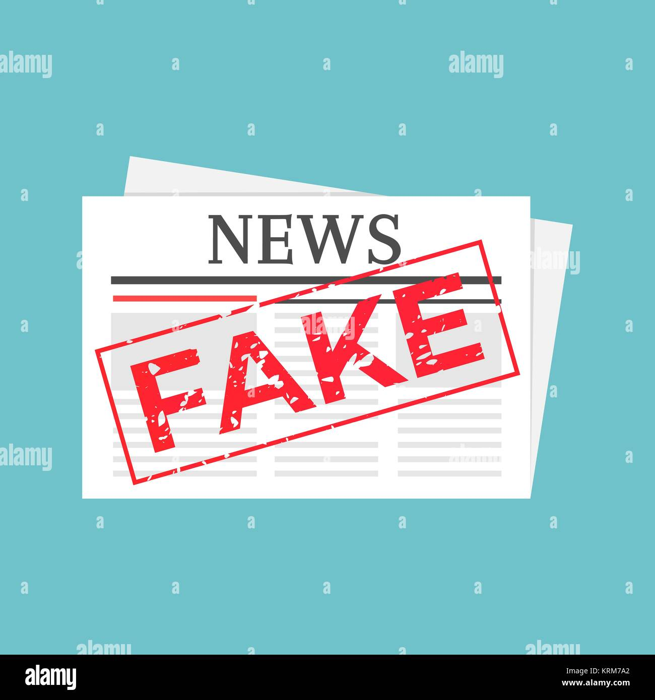 Hoax marked newspaper. Fake news stamped illustration - Stock Vector