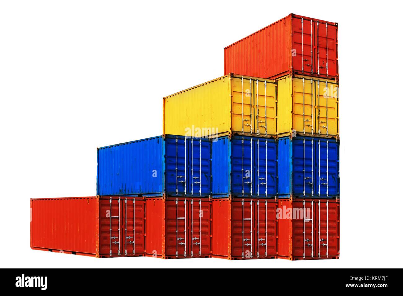 Zehn verschieden farbige Seecontainern gestapelt isoliert auf weißem Hintergrund. Stock Photo