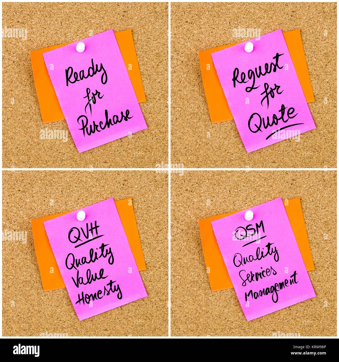 Collage of Business Acronyms written on paper note - Stock Image