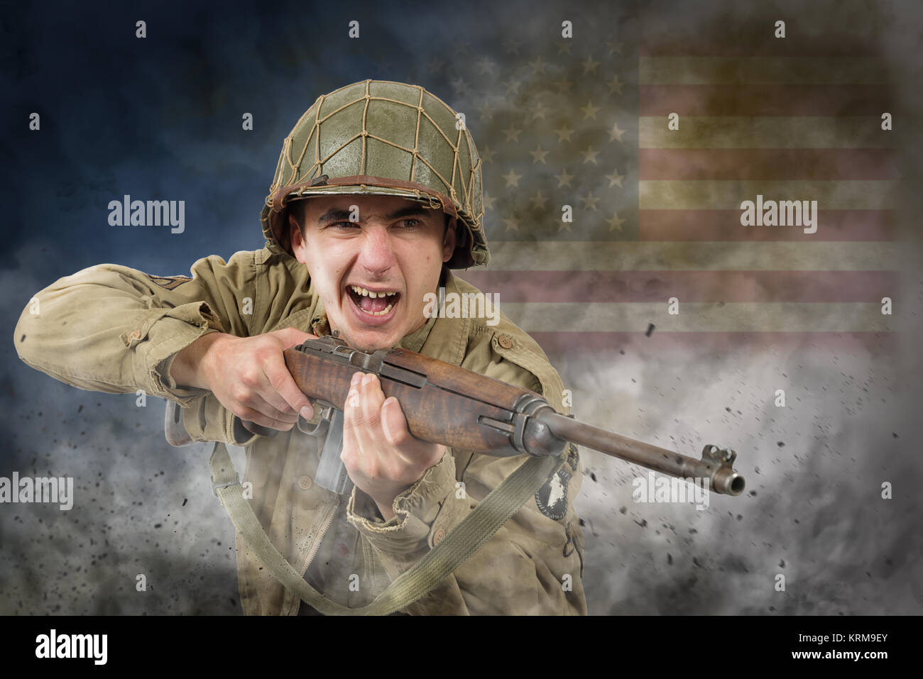 American soldier ww2 attack - Stock Image