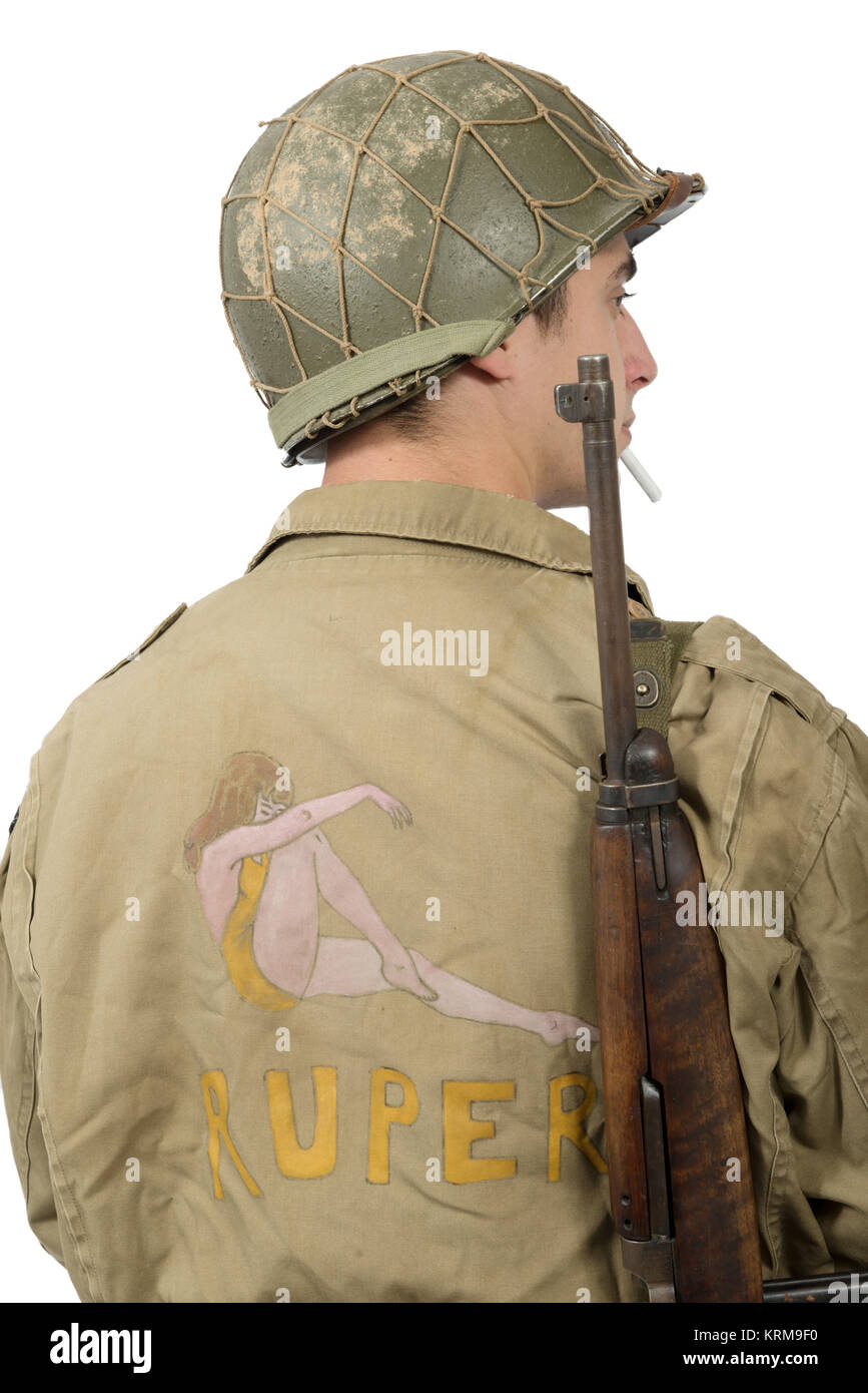 American young soldier ww2, back view - Stock Image