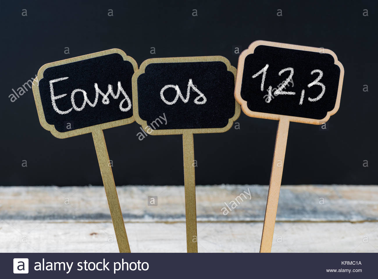 Concept message EASY AS 1,2,3 written with chalk - Stock Image