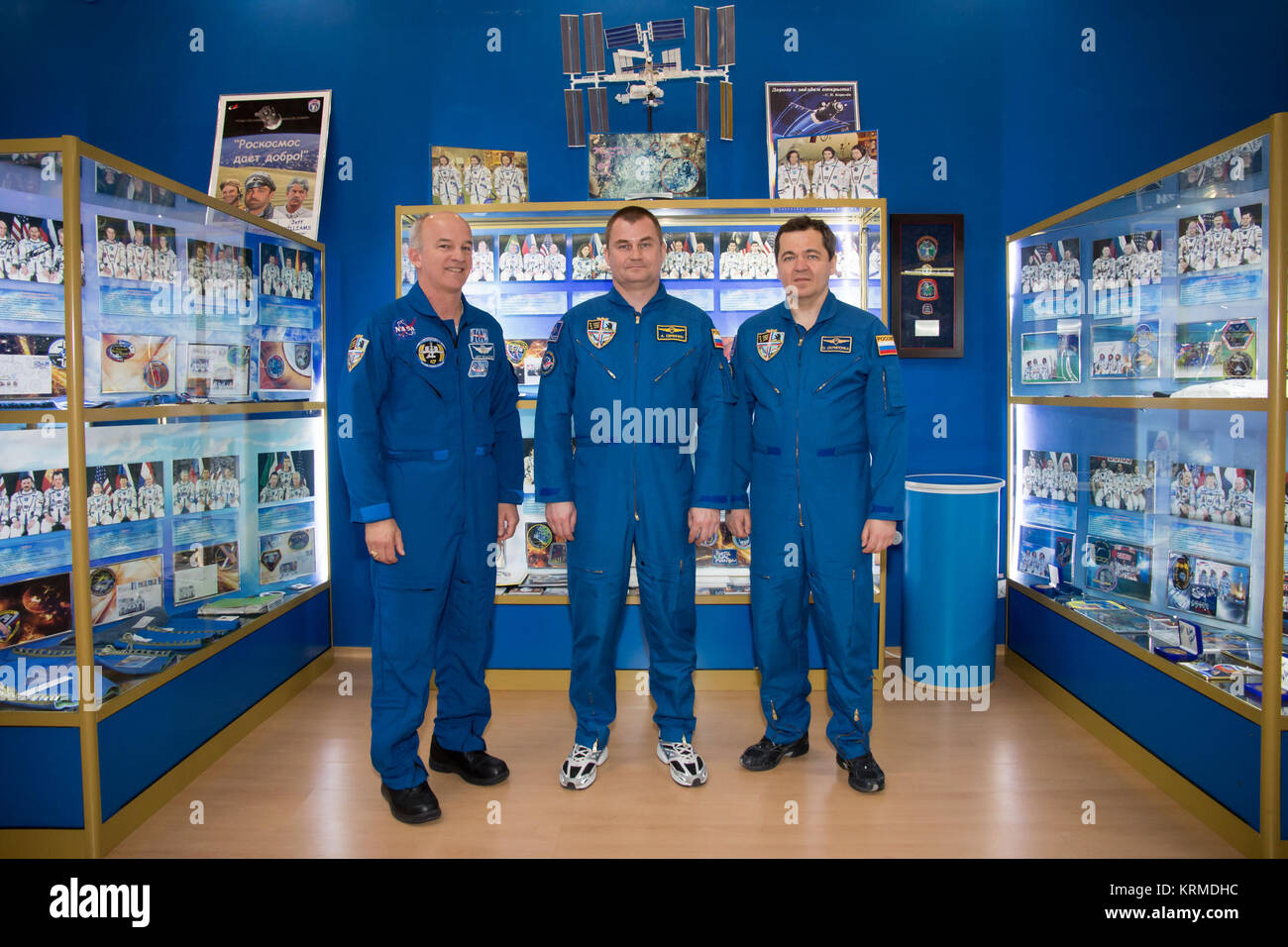 In the Korolev Museum at the Baikonur Cosmodrome in Kazakhstan, Expedition 47-48 crewmembers Jeff Williams of NASA - Stock Image