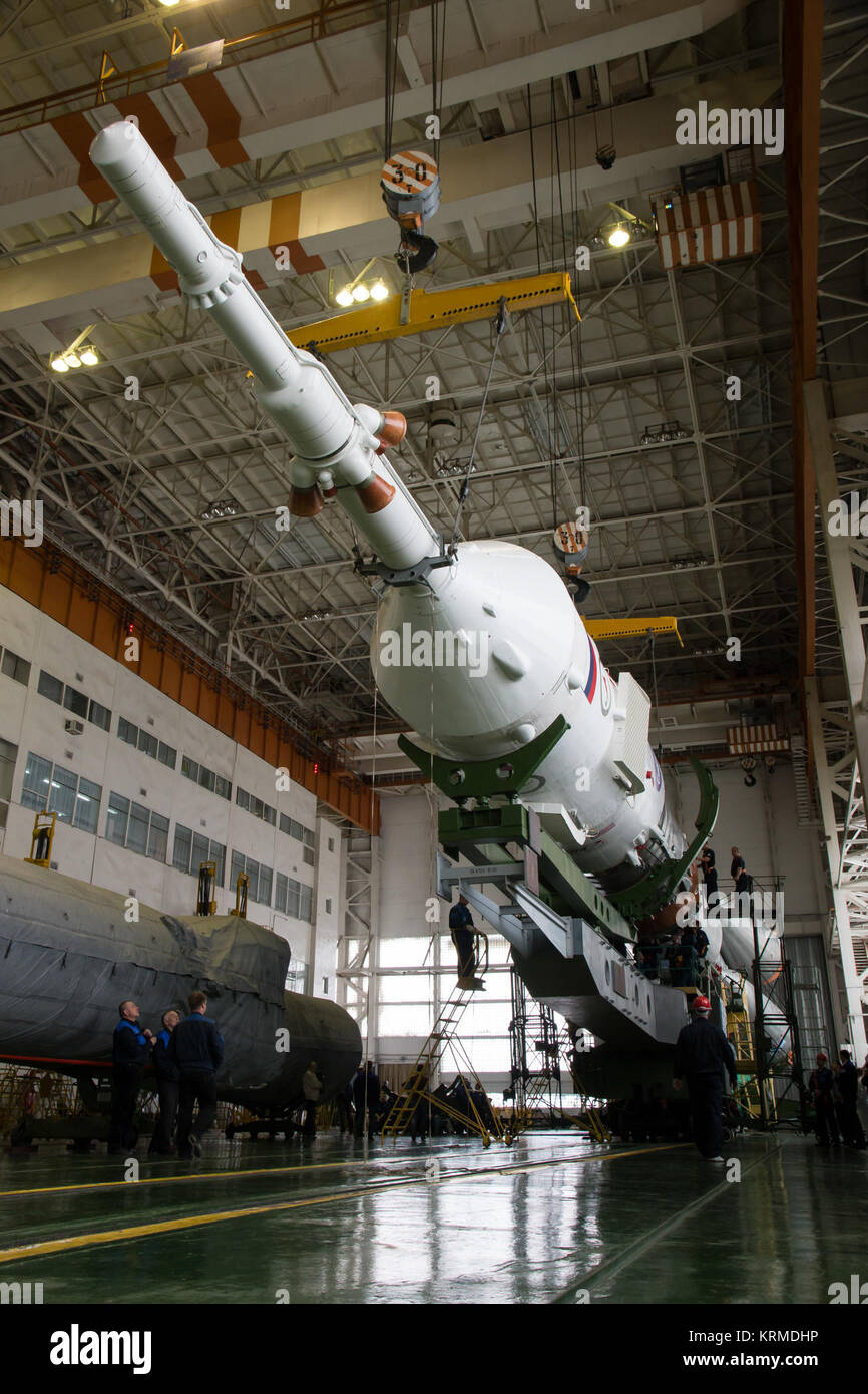 The Soyuz rocket and Soyuz TMA-20M spacecraft is assembled Tuesday, March 15, 2016 at the Baikonur Cosmodrome in Stock Photo