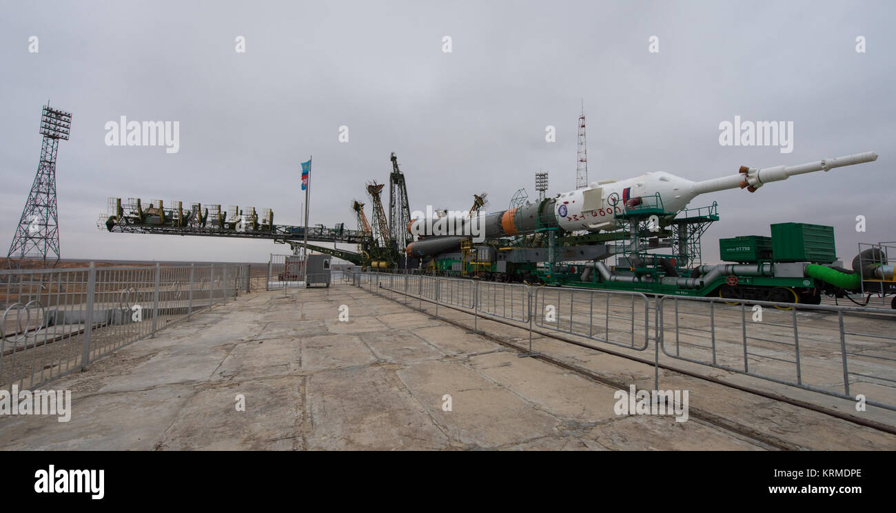 The Soyuz TMA-20M spacecraft is seen at the launch pad after being rolled out by train in the early hours of Wednesday, Stock Photo
