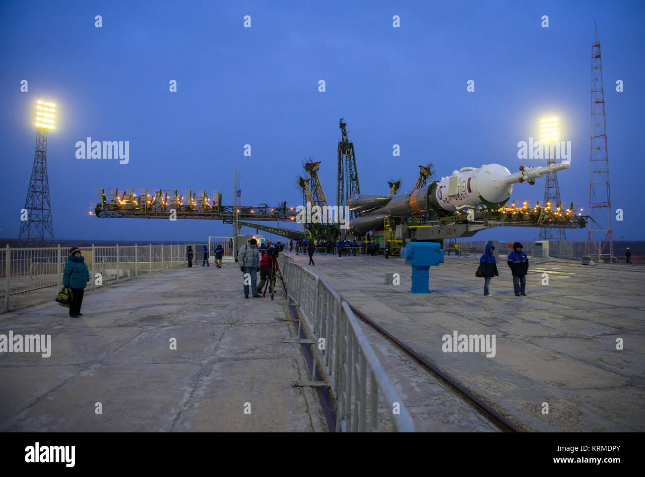 The Soyuz TMA-20M spacecraft is prepared to be raised into position on the launch pad Wednesday, March 16, 2016 Stock Photo