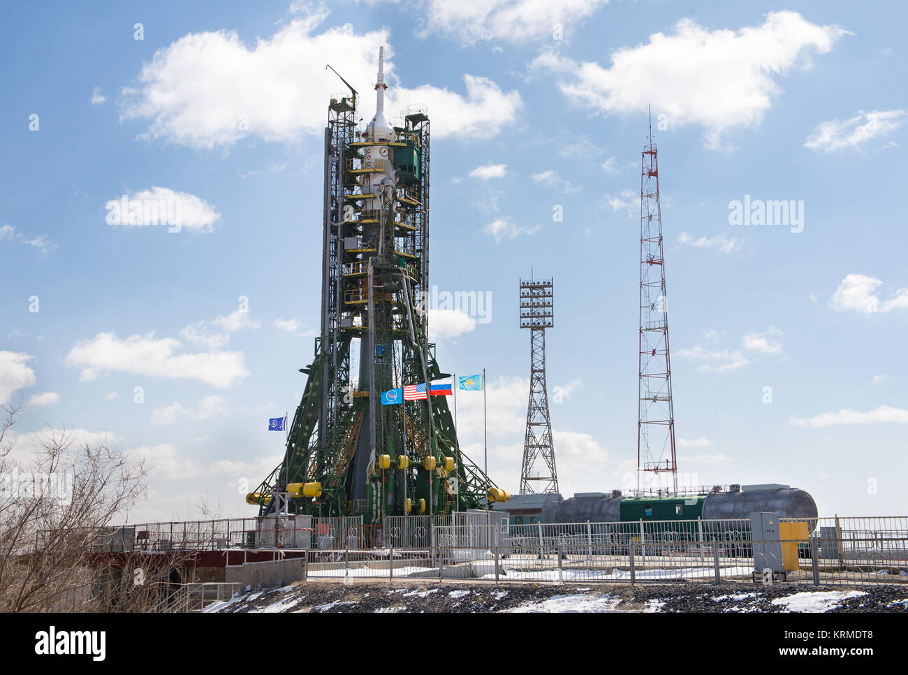 The Soyuz TMA-20M spacecraft is seen on the launch pad at the Baikonur Cosmodrome after it was blessed by an Orthodox - Stock Image