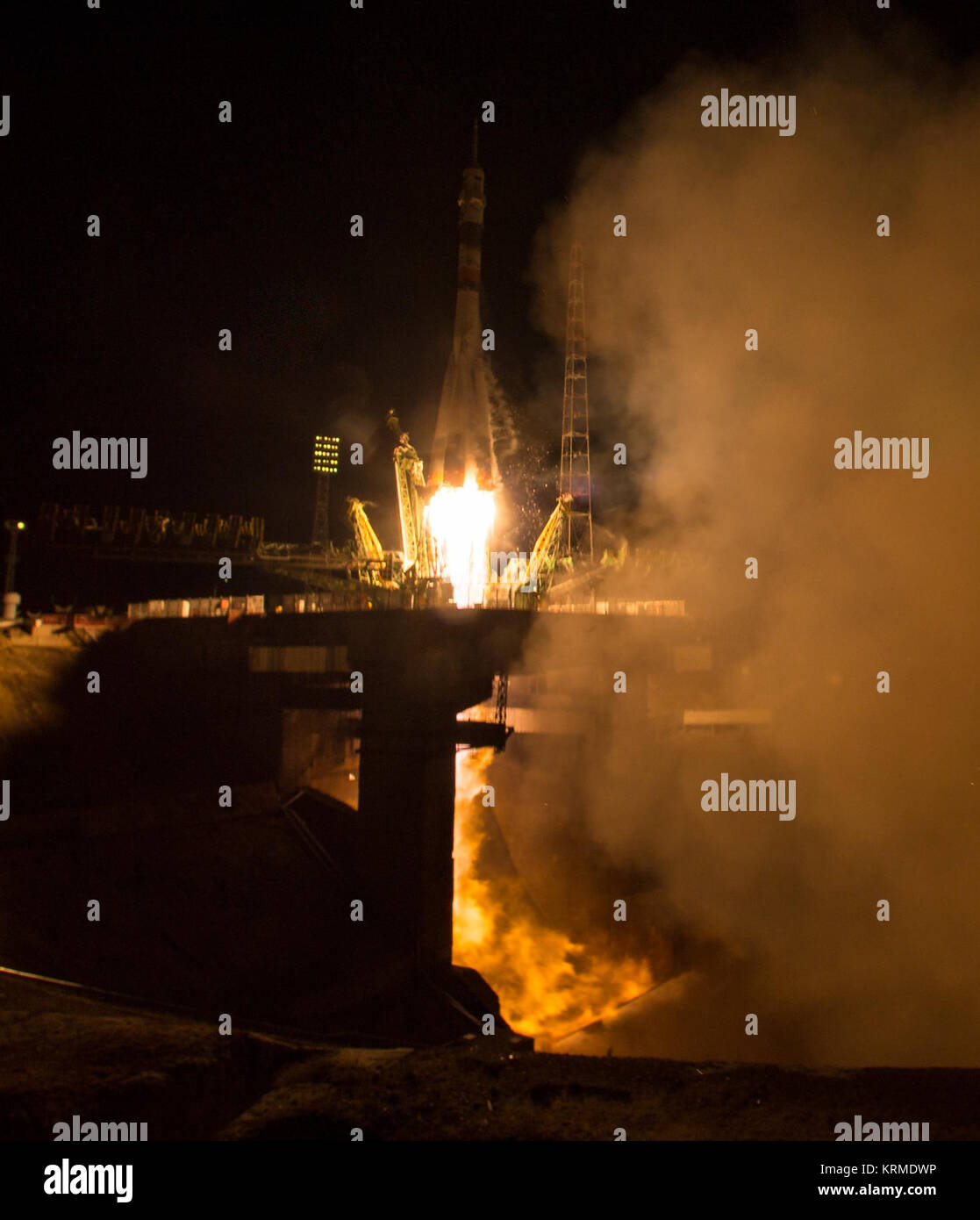 The Soyuz TMA-20M rocket launches from the Baikonur Cosmodrome in Kazakhstan on Saturday, March 19, 2016 carrying - Stock Image
