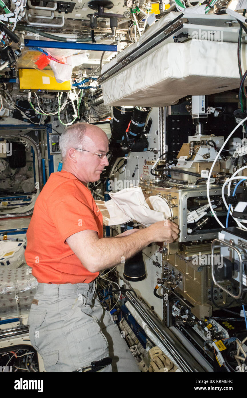 ISS-47 Jeff Williams works with the Light Microscopy Module in the Destiny lab - Stock Image