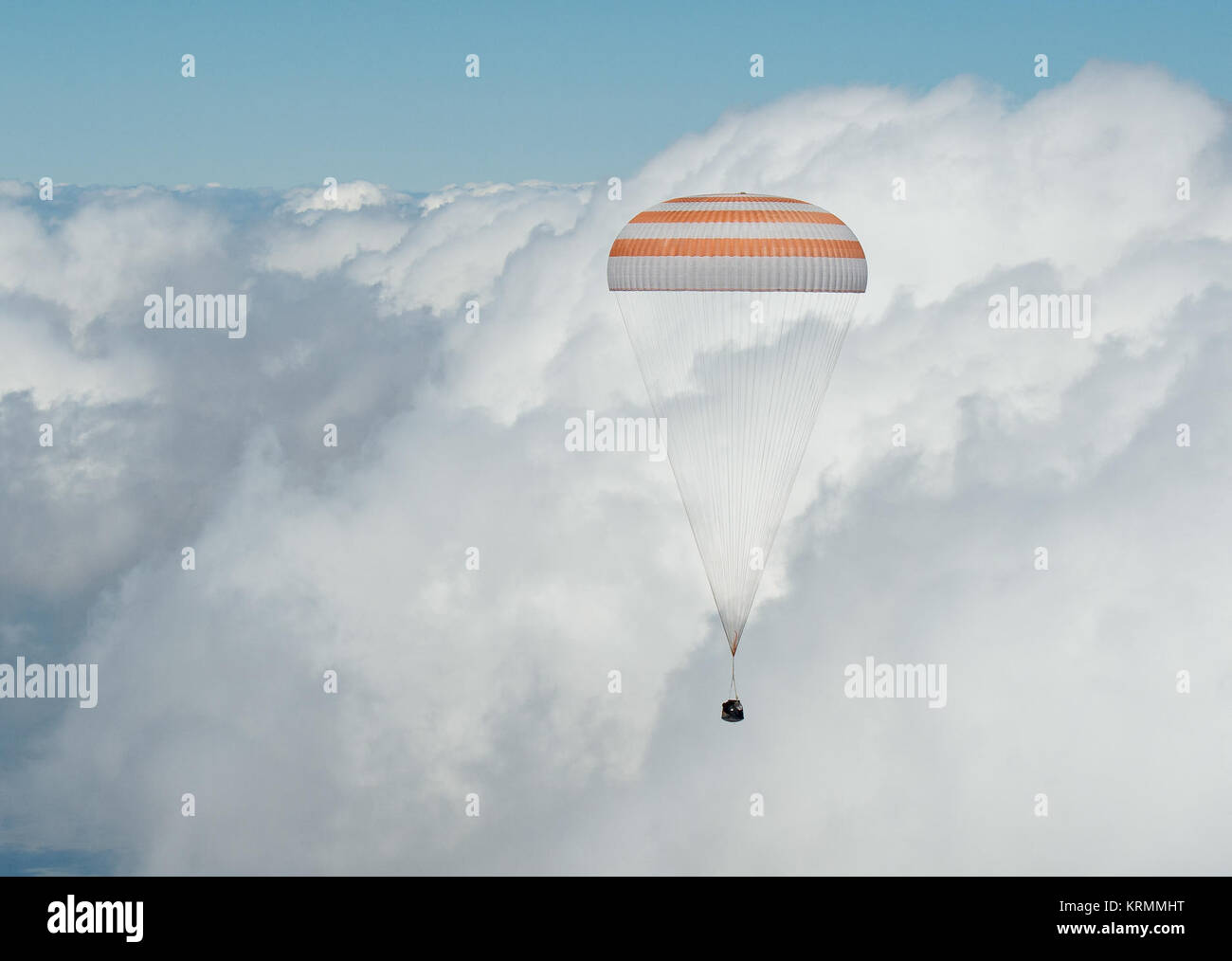 The Soyuz TMA-19M spacecraft is seen as it lands with Expedition 47 crew members Tim Kopra of NASA, Tim Peake of - Stock Image