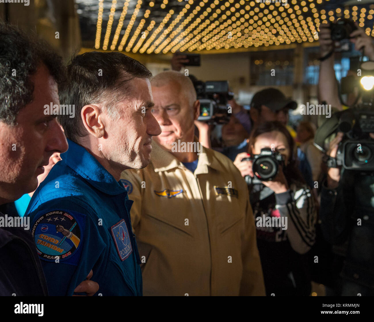 Expedition 47 cosmonaut Yuri Malenchenko of Roscosmos arrives at the Karaganda Airport in Kazakhstan a few hours - Stock Image