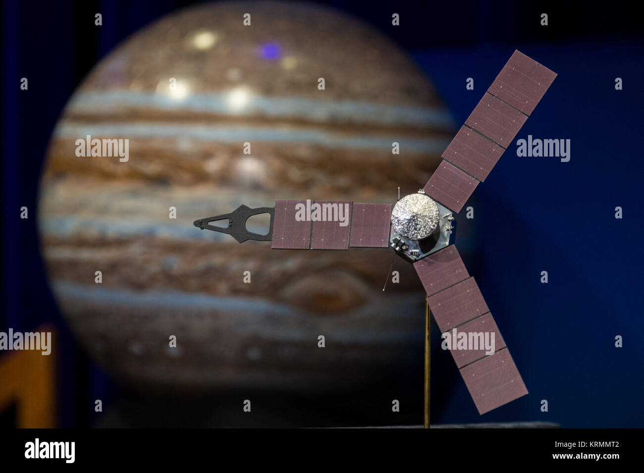 A model of the Juno spacecraft is seen at a news briefing, held before Juno enters orbit around Jupiter, on Thursday, - Stock Image