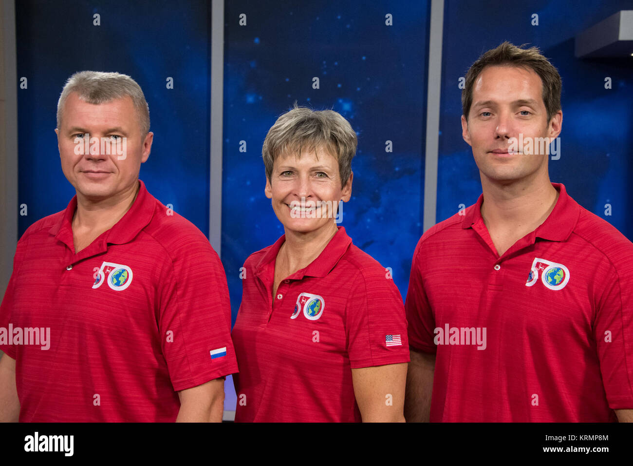 Date: 08-30-16 Location: Bldg 2 South, Studio B Subject: Expedition 50/51 Crew Press Conference with Peggy Whitson, - Stock Image