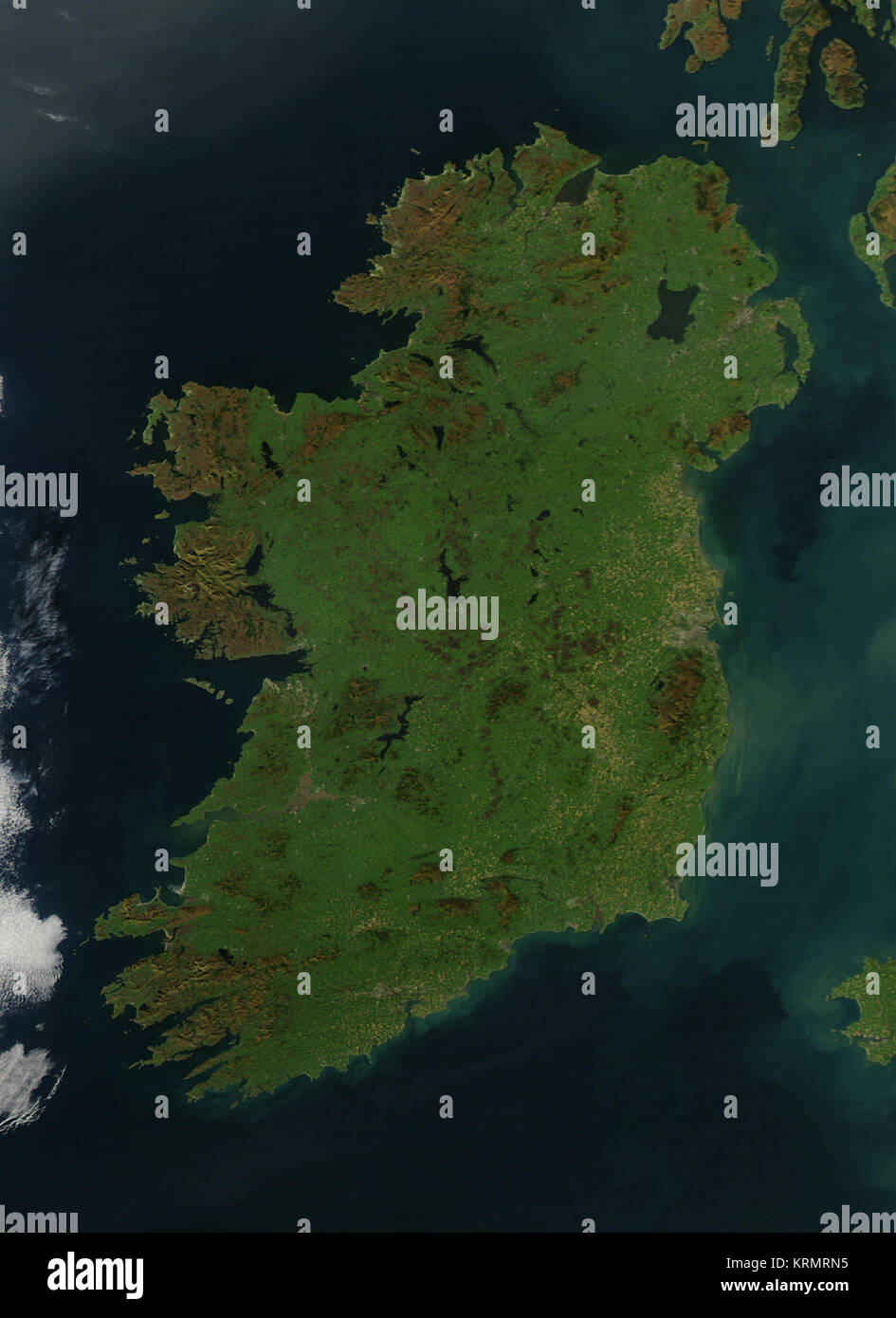 NASA image acquired October 11, 2010 It is easy to see from this true-color image why Ireland is called the Emerald Stock Photo