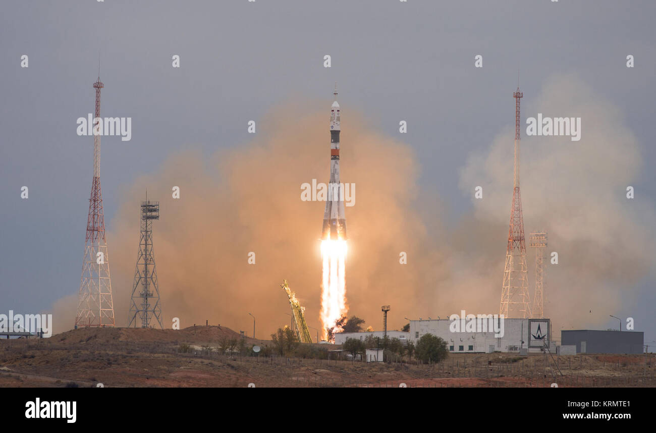 The Soyuz MS-02 rocket is launched with Expedition 49 Soyuz commander Sergey Ryzhikov of Roscosmos, flight engineer - Stock Image