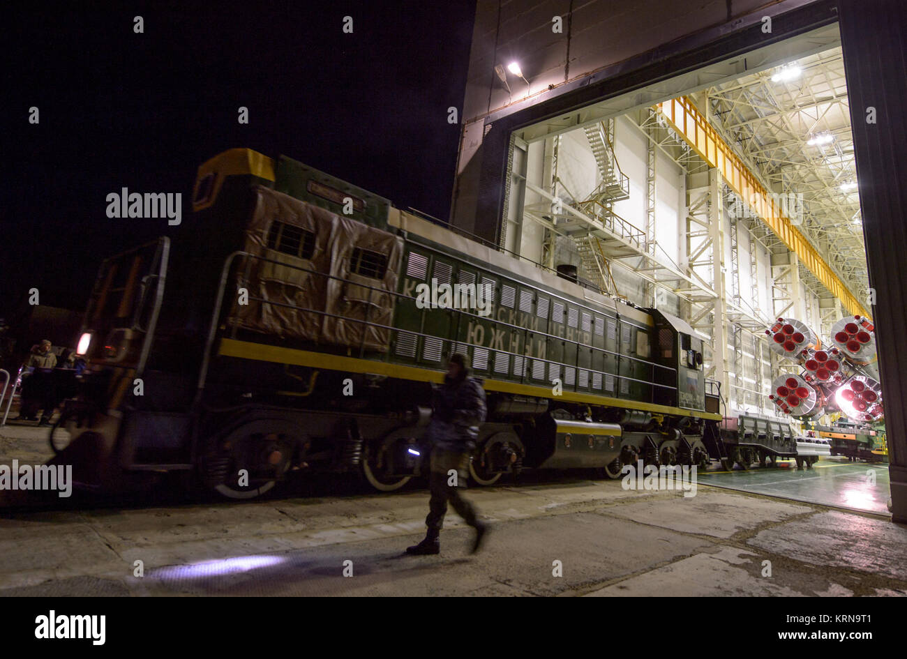 The Soyuz rocket is rolled out by train to the launch pad at the Baikonur Cosmodrome, Kazakhstan, Monday, Nov. 14, - Stock Image