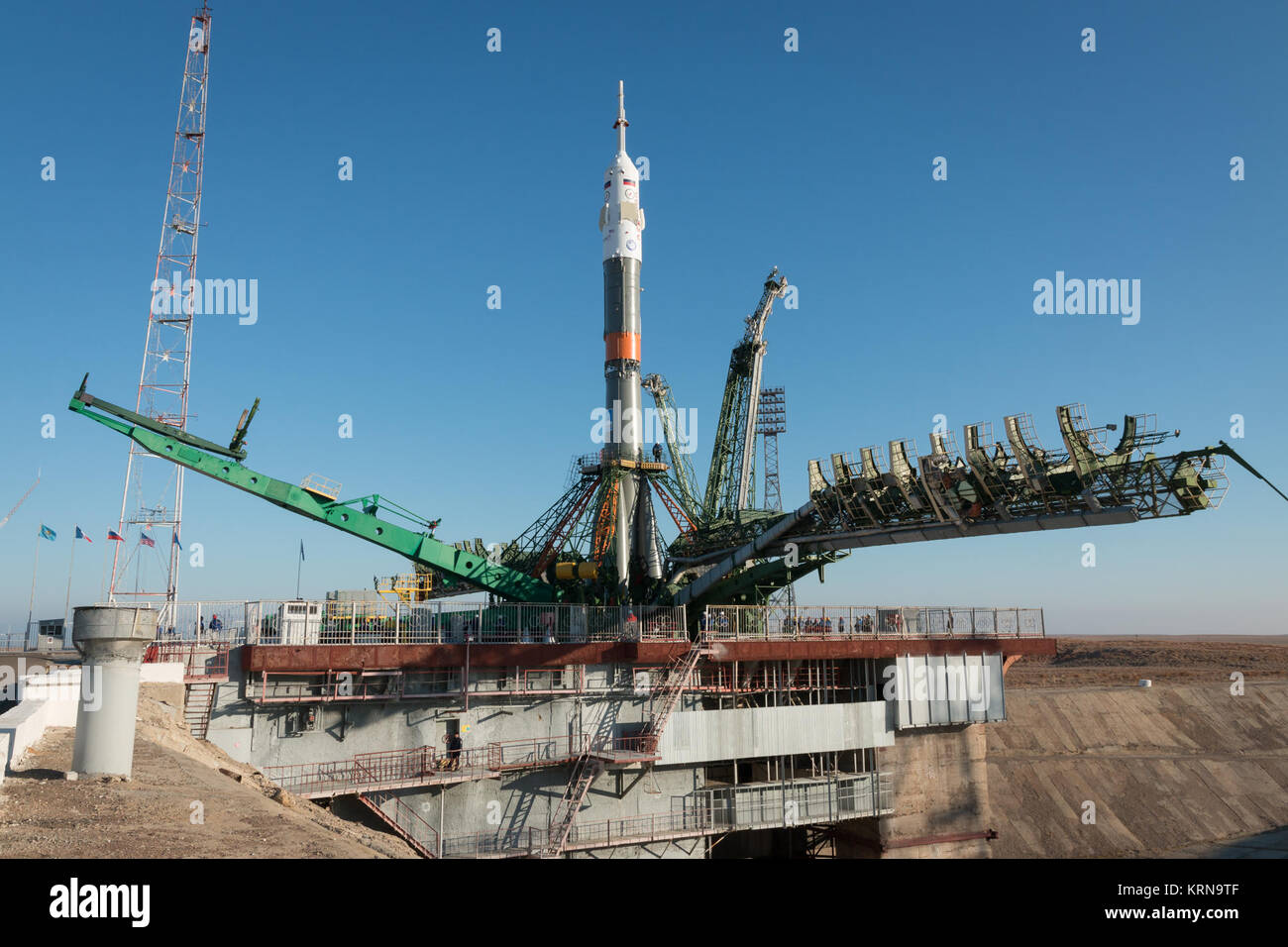 The Soyuz rocket is seen after being rolled out by train to the launch pad at the Baikonur Cosmodrome, Kazakhstan, - Stock Image