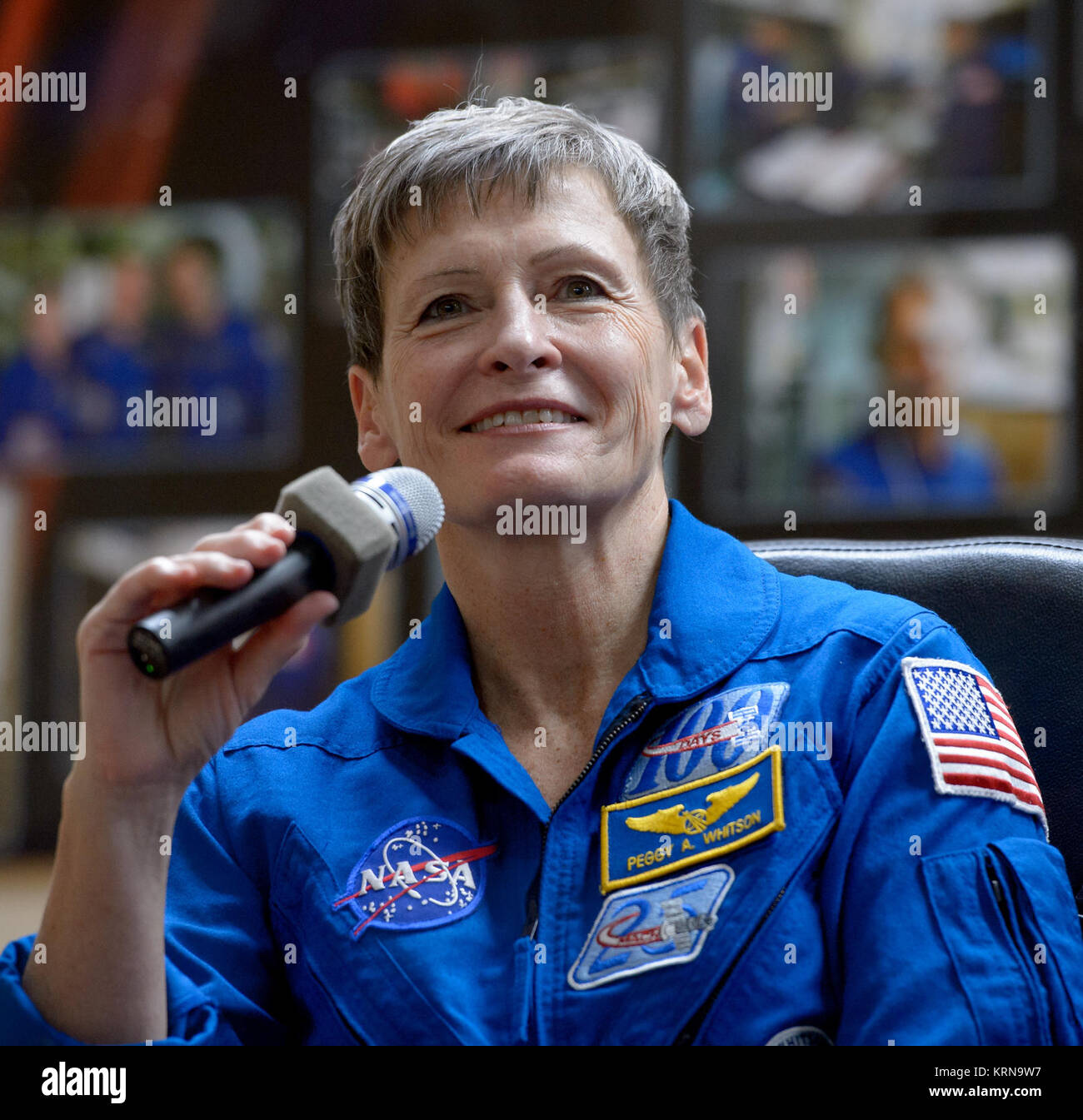Expedition 50 NASA astronaut Peggy Whitson is seen in quarantine behind glass during a crew press conference, Wednesday, - Stock Image