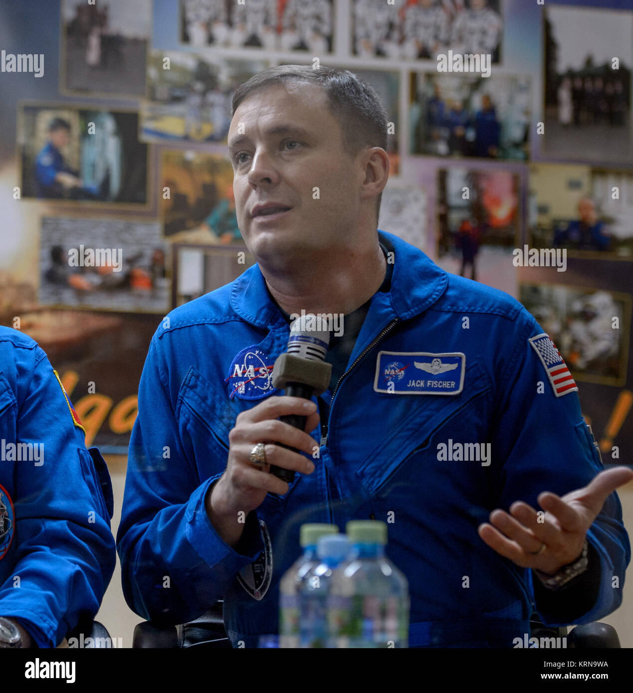 Expedition 50 backup crew member NASA astronaut Jack Fischer is seen in quarantine behind glass during a crew press - Stock Image