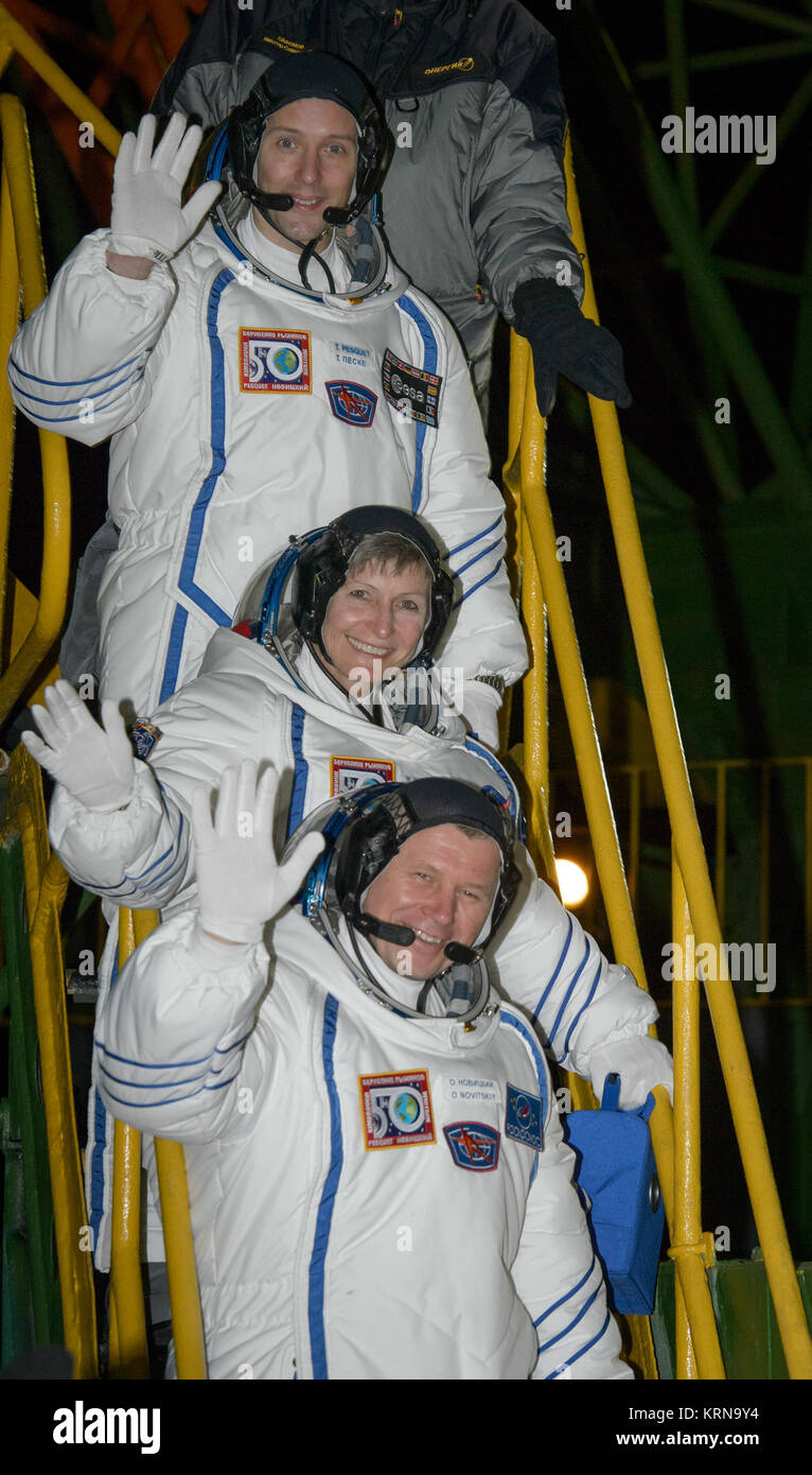 Expedition 50 crewmembers ESA astronaut Thomas Pesquet, top, NASA astronaut Peggy Whitson, middle, and Russian cosmonaut - Stock Image
