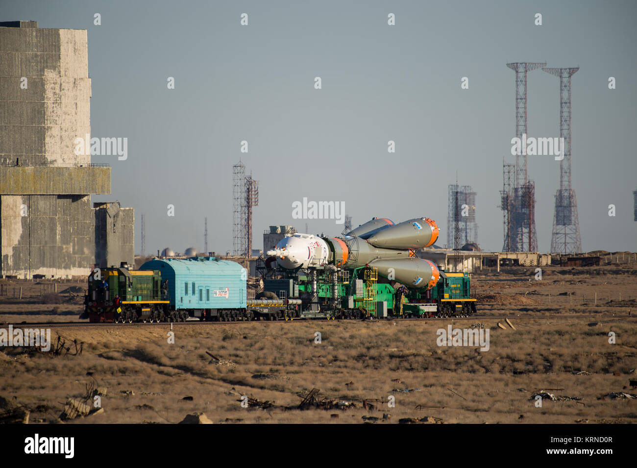 The Soyuz MS-04 spacecraft is rolled out to the launch pad by train on Monday, April 17, 2017 at the Baikonur Cosmodrome - Stock Image
