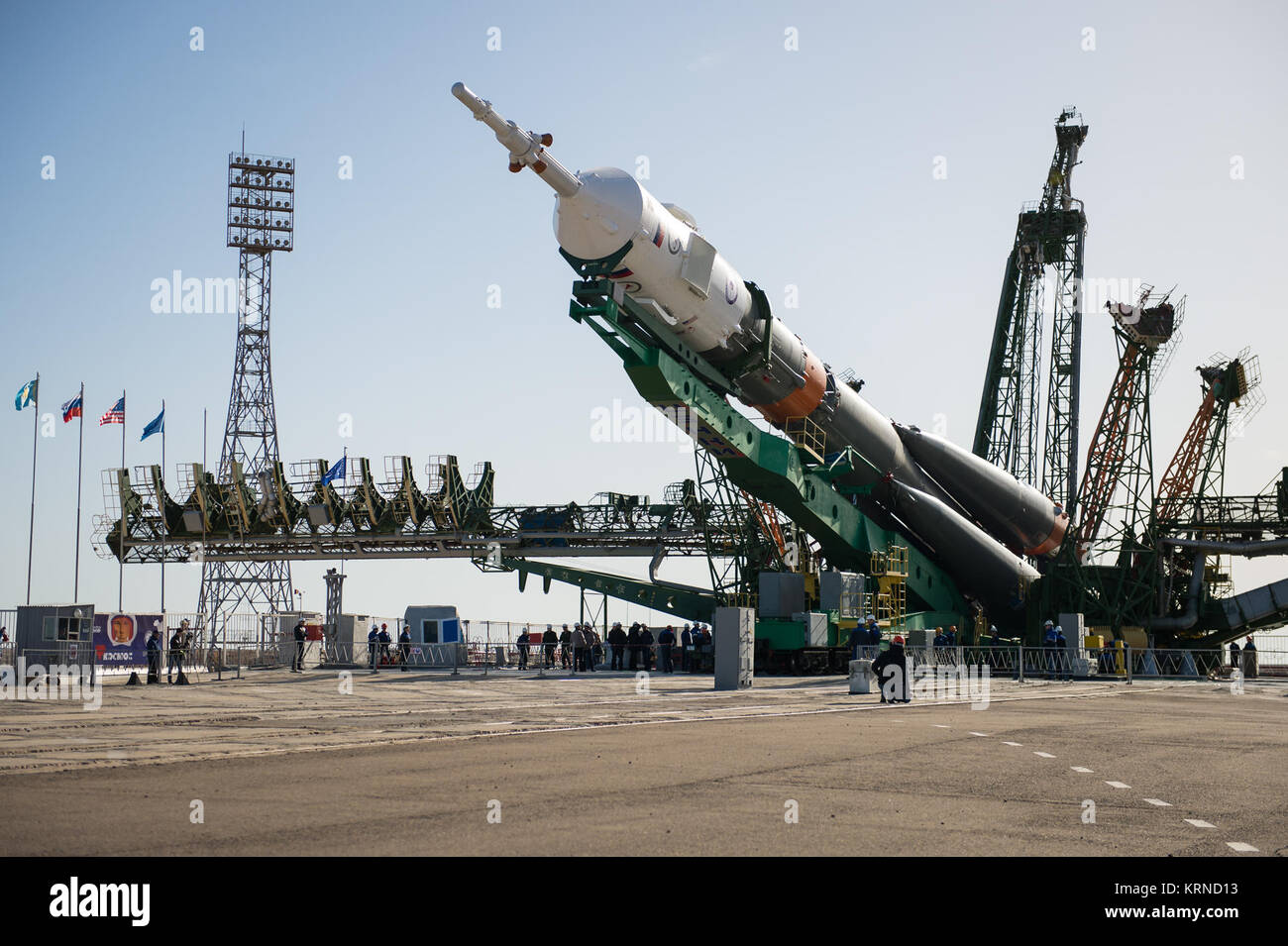 The Soyuz MS-04 spacecraft is raised into position on the launch pad Monday, April 17, 2017 at the Baikonur Cosmodrome - Stock Image