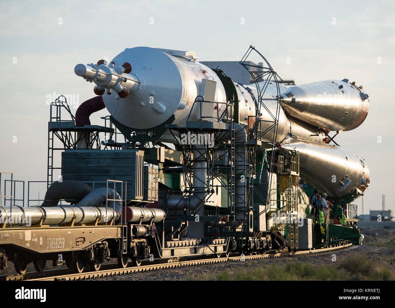 The Soyuz MS-05 spacecraft is rolled out by train to the launch pad at the Baikonur Cosmodrome, Kazakhstan, Wednesday, - Stock Image