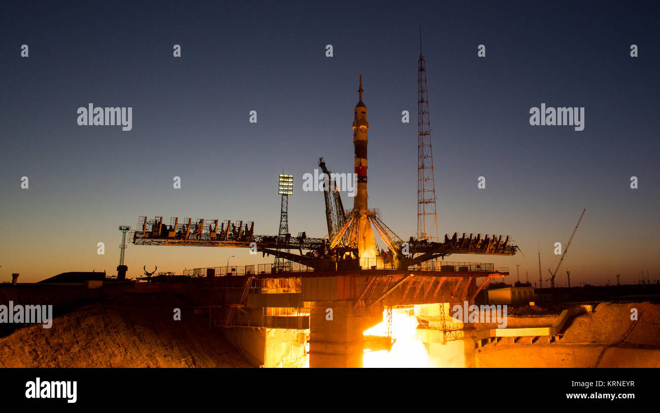 The Soyuz MS-05 rocket is launched with Expedition 52 flight engineer Sergei Ryazanskiy of Roscosmos, flight engineer - Stock Image
