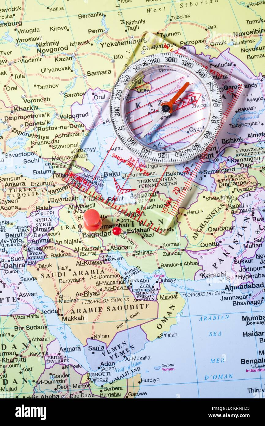 iraq map with red pin and compass stock image