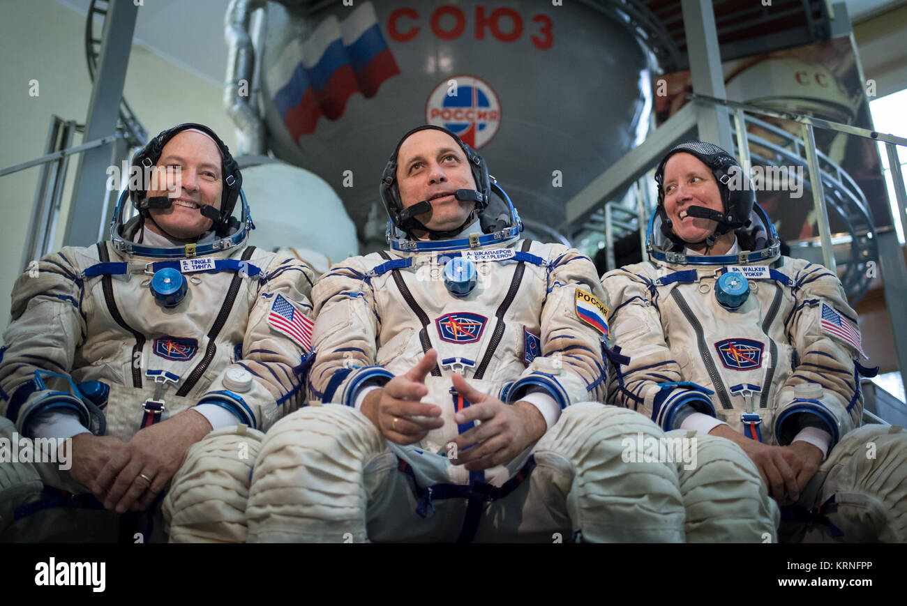 Expedition 53 backup crew members: Scott Tingle of NASA, left, Anton Shkaplerov of Roscosmos, center, and Shannon - Stock Image