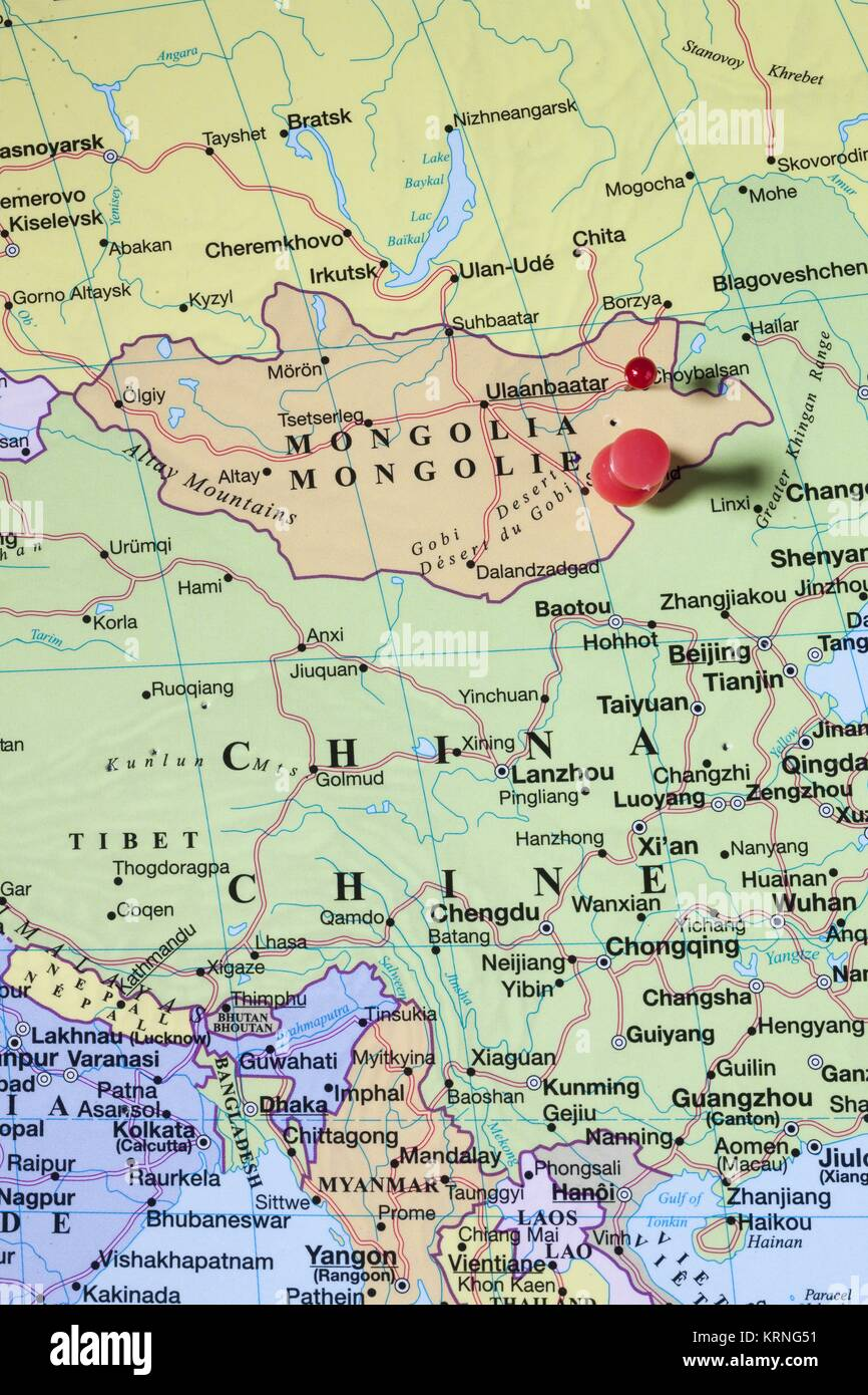 mongolia map with red pin - Stock Image