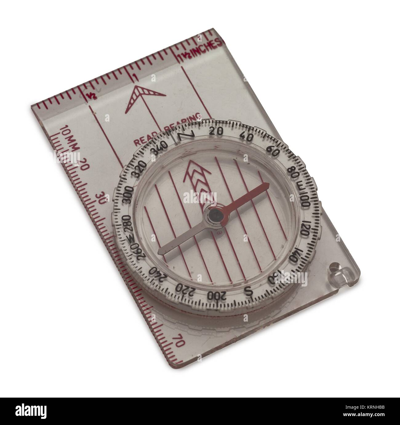 plastic ruler with compass - Stock Image
