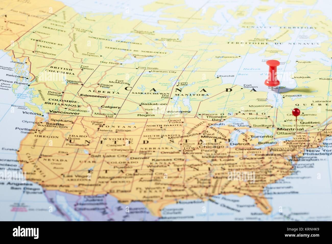 Canada travel map push pins stock photos canada travel map push pushpins on map of north america stock image gumiabroncs Choice Image