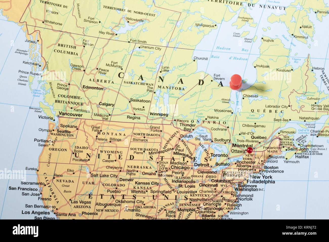 Canada travel map push pins stock photos canada travel map push thumbtack on world map stock image gumiabroncs Image collections