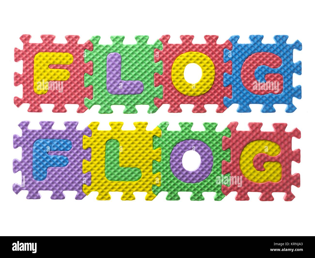 word flog formed from letter puzzle - Stock Image