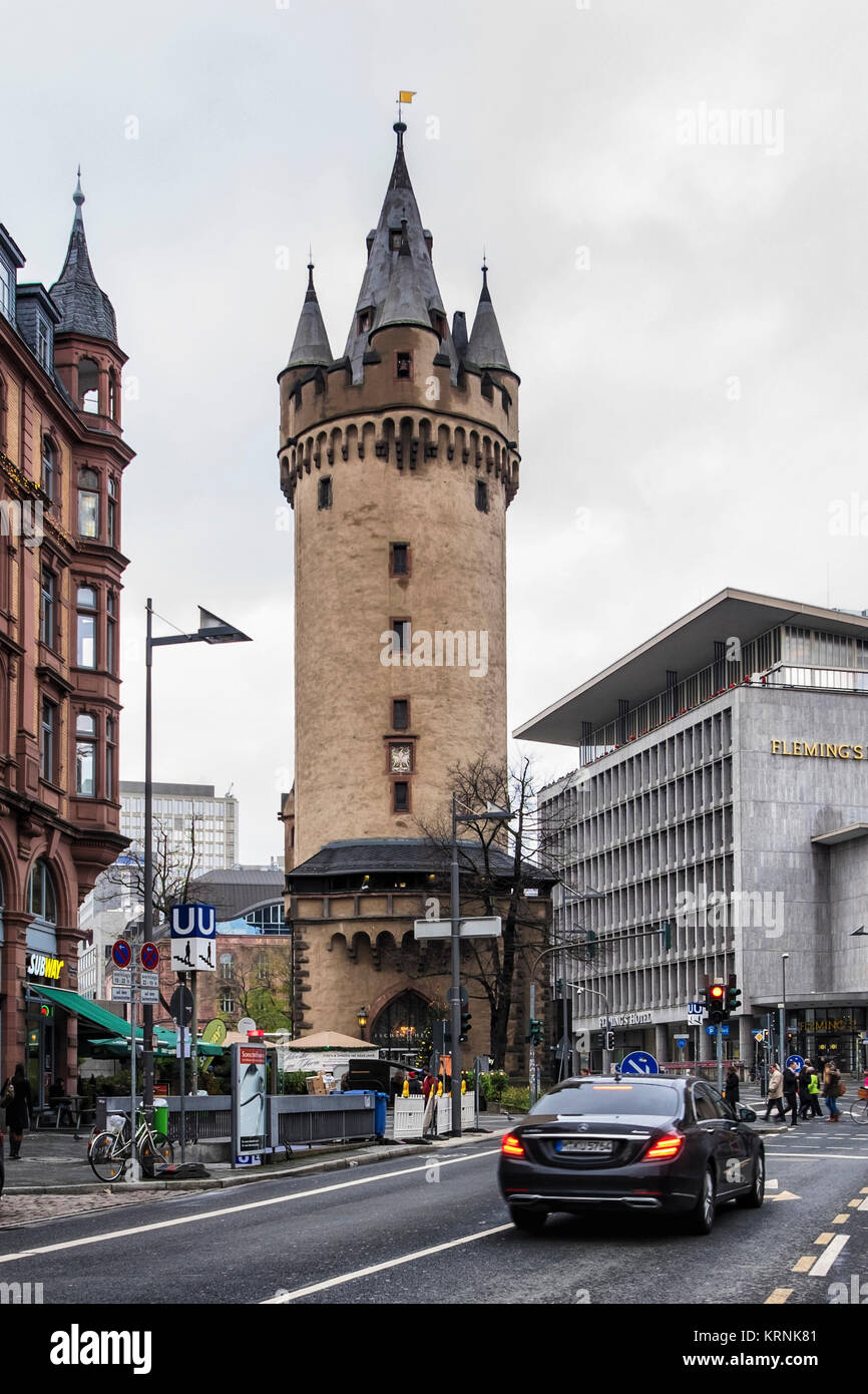 Frankfurt,Germany. Eschenheim Tower is a former city gate, part of the late medieval fortifications - Stock Image