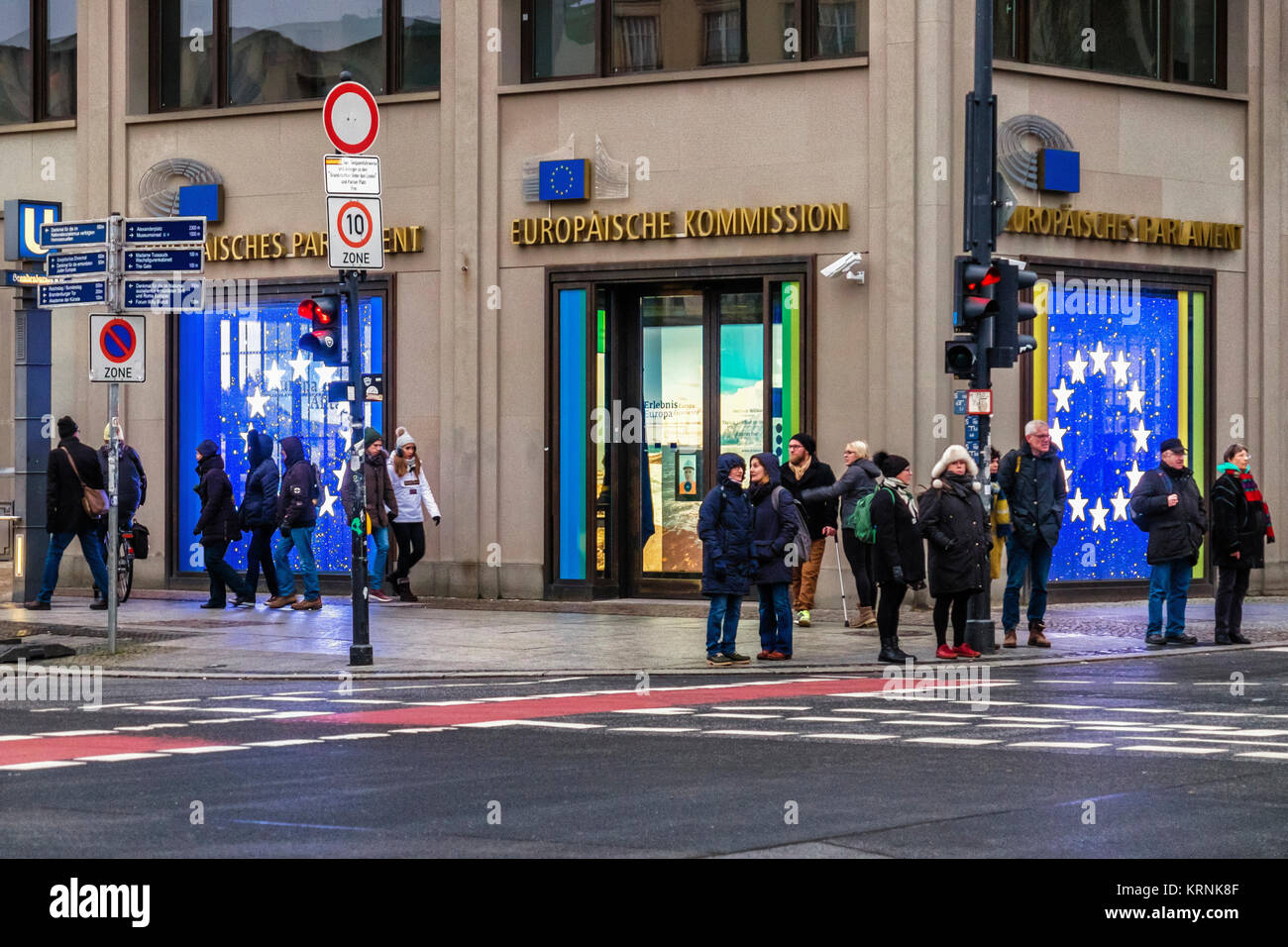 Berlin Mitte,Unter den Linden.European Union Commission, Europaische Kommission information office - Stock Image