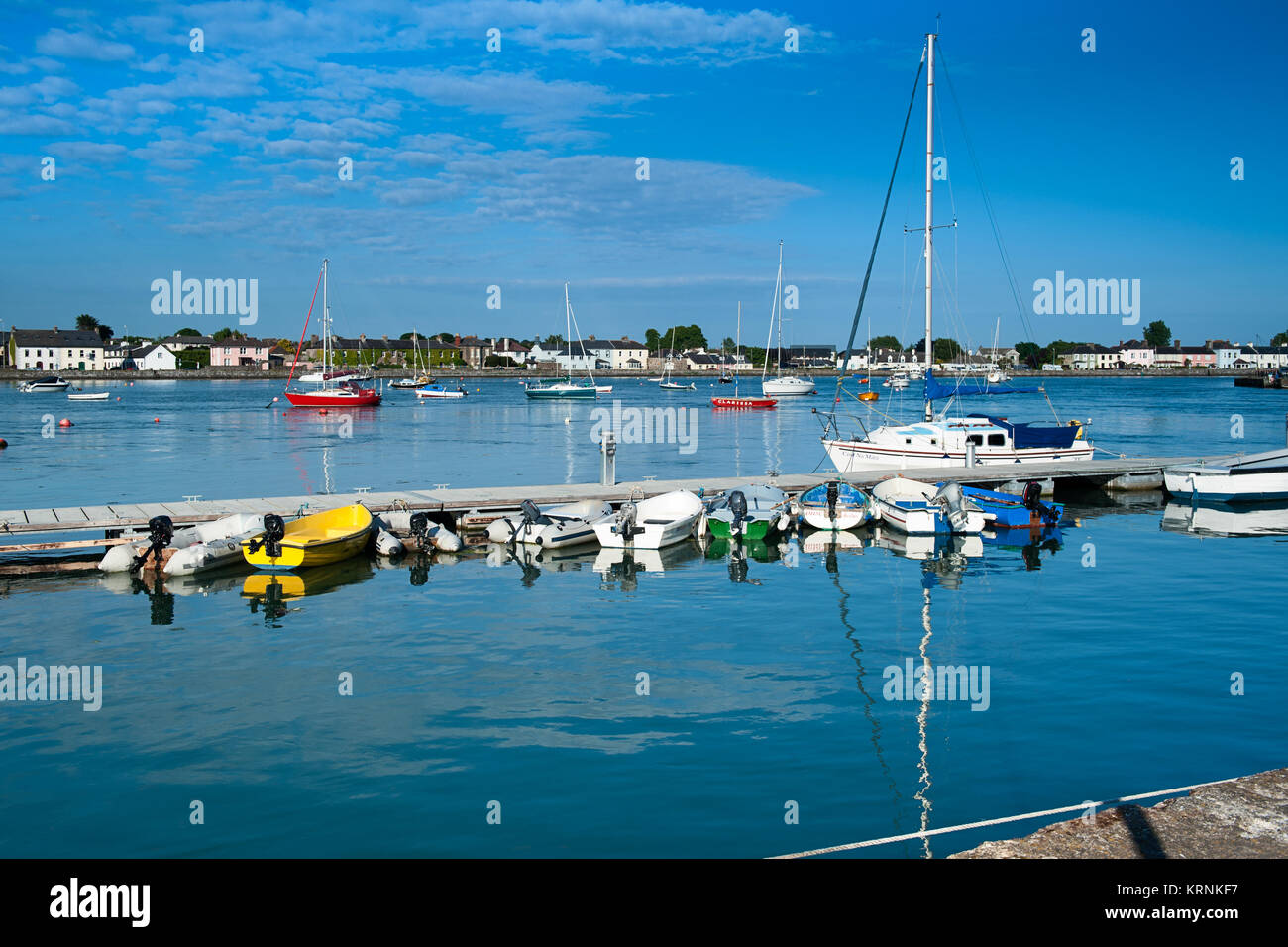 Moored Boats Dungarvan Harbour Waterford Ireland - Stock Image