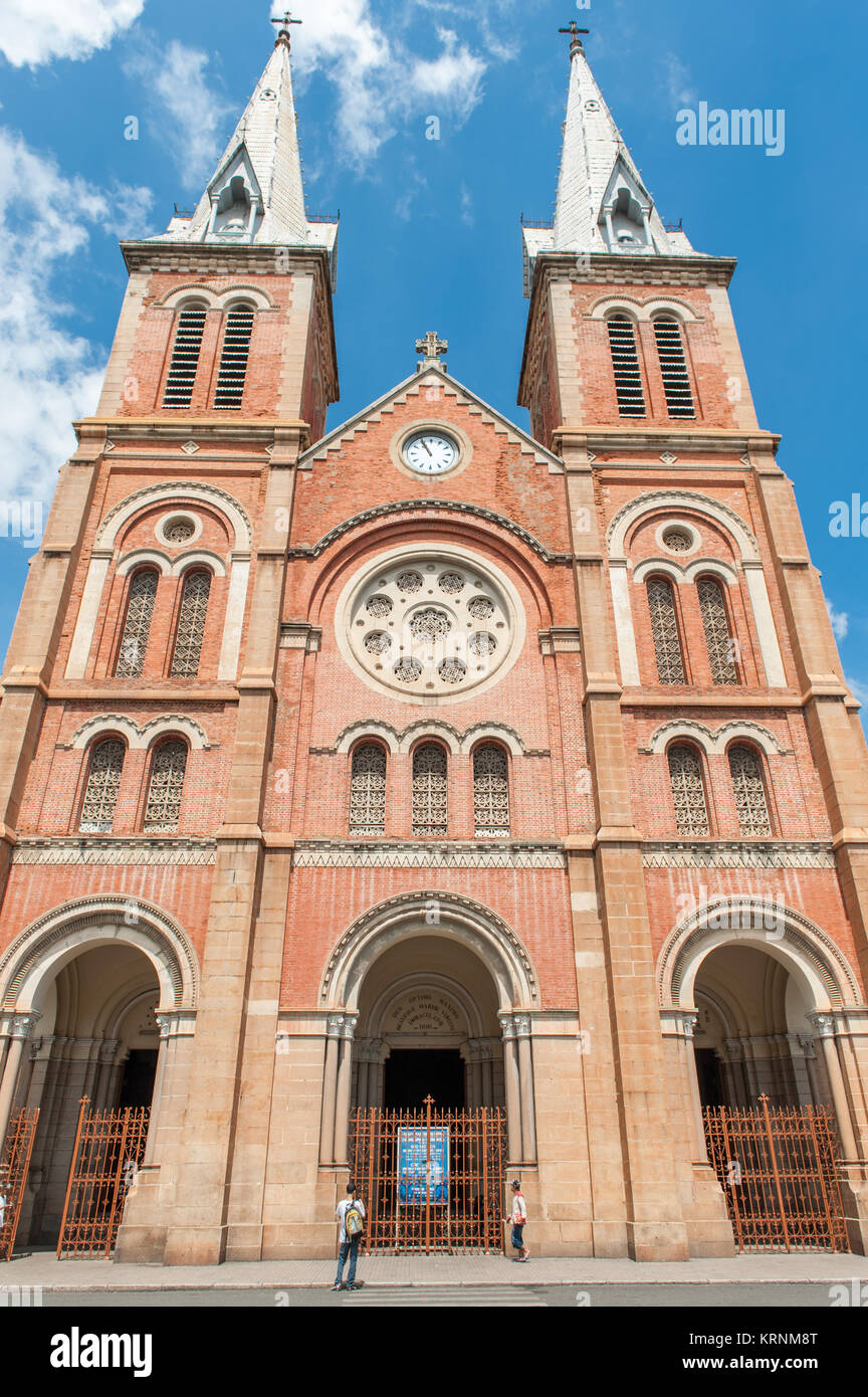 The catholic cathedral Notre Dame de Saigon. Notre Dame is one the icons of Saigon and was completed in 1880 by - Stock Image
