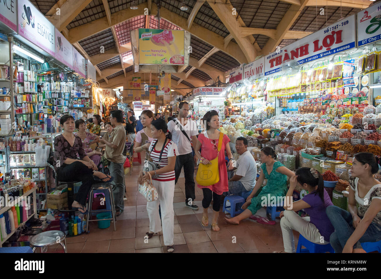 Ben Thanh Market in Ho Chi Minh city. This bustling market is one of the most famous in former Saigon. - Stock Image