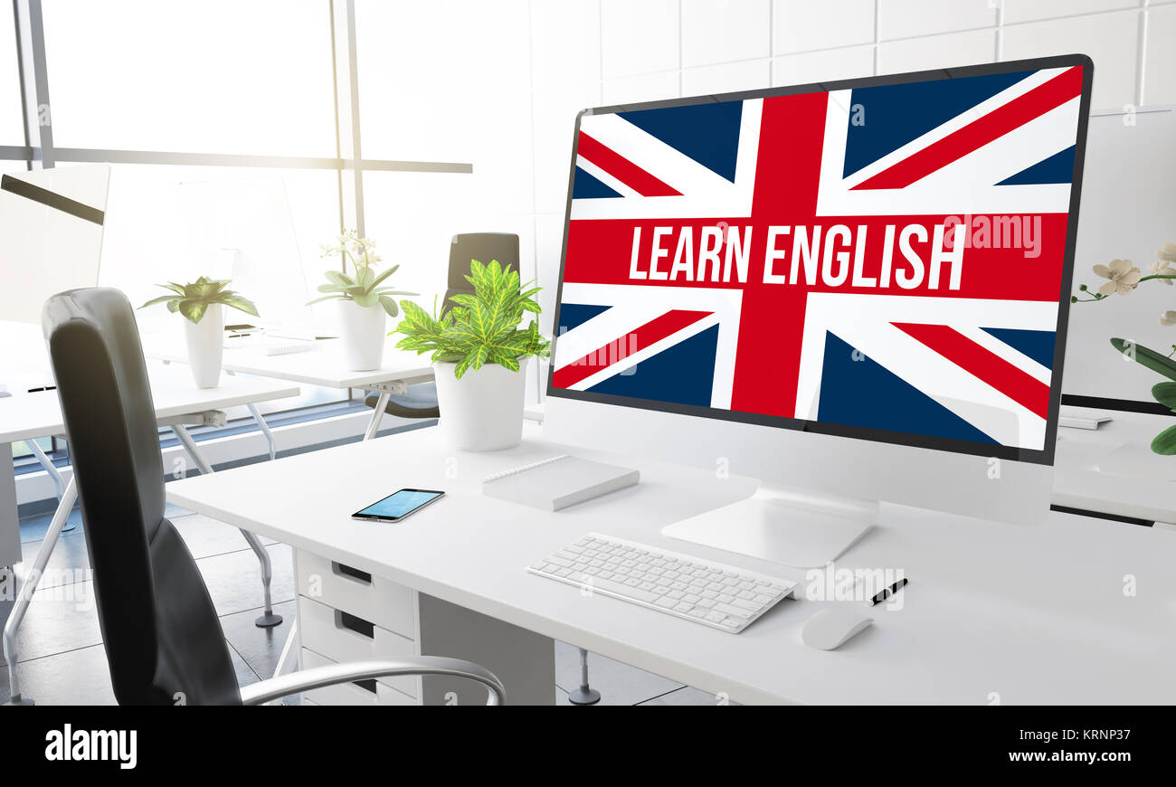 computer with learn english 3d rendering. - Stock Image