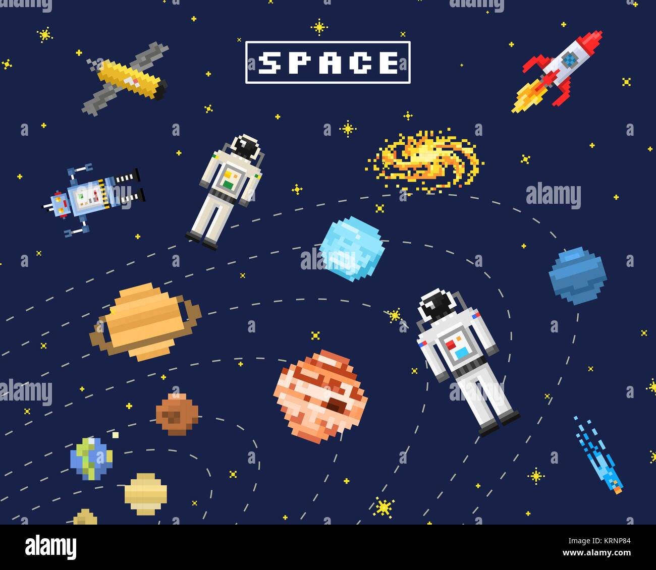 Space Background Alien Spaceman Robot Rocket And Satellite Cubes Stock Vector Image Art Alamy