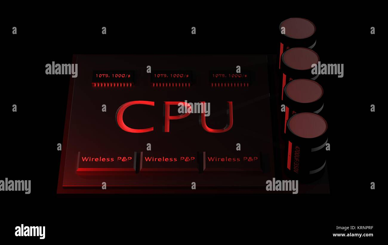 3d rendering central Computer Processors CPU concept. technology background. High resolution - Stock Image