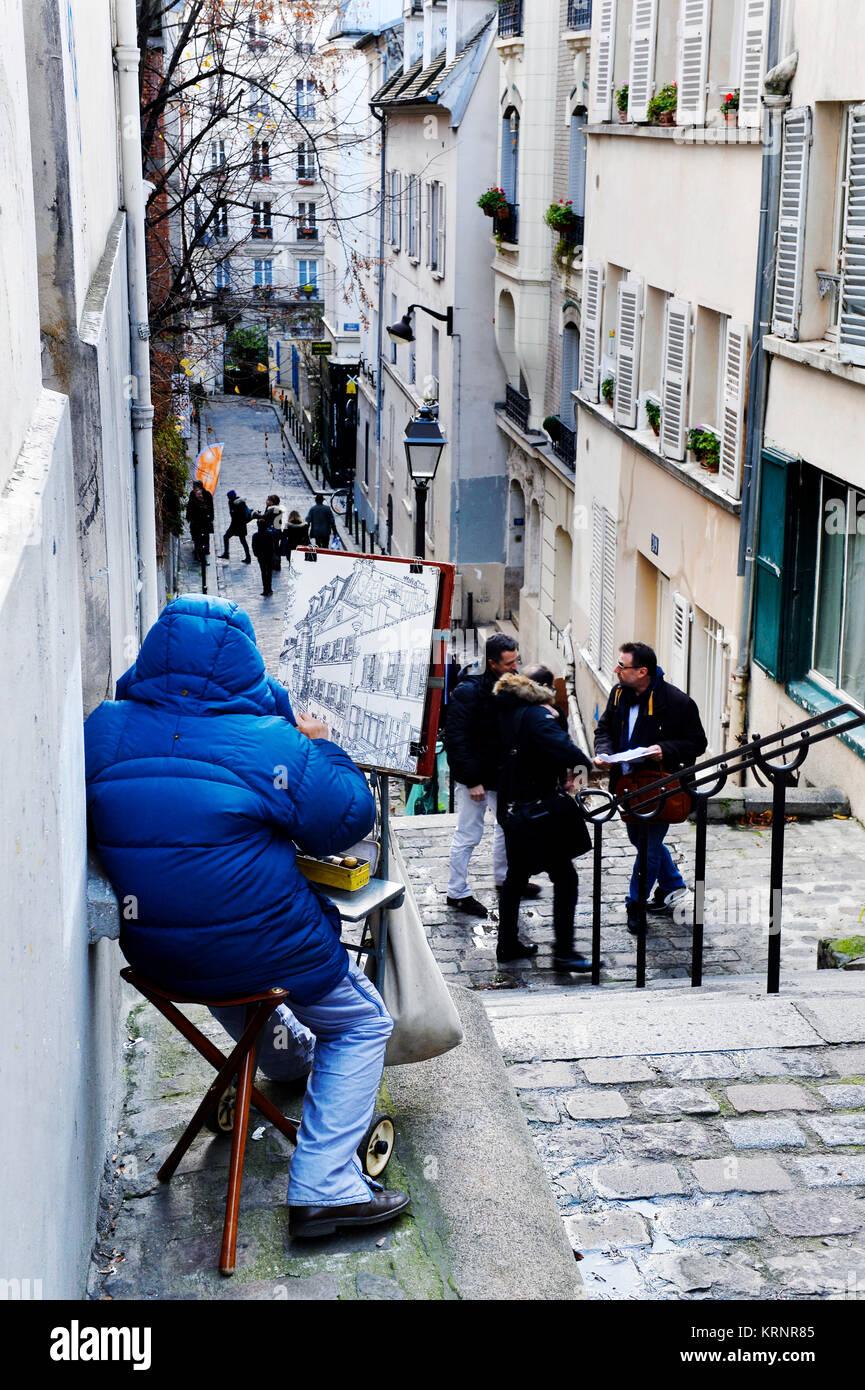 Montmartre painter - Rue André Antoine - Paris 18th - France - Stock Image